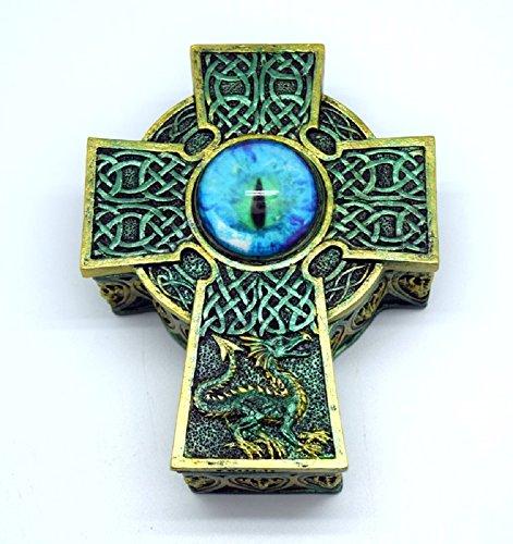 Green Celtic Cross Dragons Eye Jewelry Trinket Keepsake Box Fantasy - Trinket Celtic Cross
