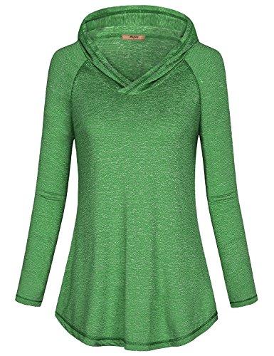 Miusey Long Sleeve Sweatshirt Women, Ladies Long Sleeve Pullover Seamless Hoodie Contemporary Dressy Active Shirts Fall Tops Space Dye Green (Seamless Hoodie Top)