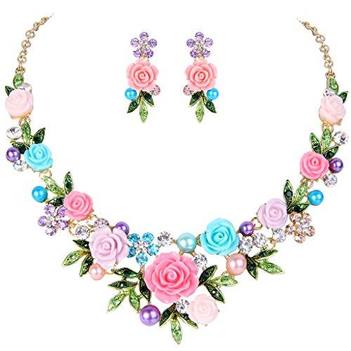 EVER FAITH Crystal Simulated Pearl Rose Flower Leaf Necklace Pierced Earrings Set Multicolor ()