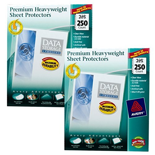 Avery Top Loading Clear Sheet Protectors, Heavyweight, 250 per Box #76006 (2 Pack) by AVERY