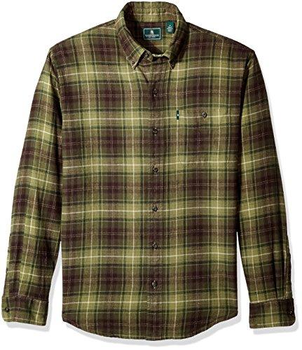 G.H. Bass & Co. Men's Long Sleeve Fireside Plaid Flannel Shirt, Forest Night, - Tops D&g