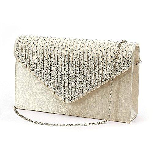 For Women Satin Bag Wedding Rhinestone Handbags Apricot studded Evening Party Evening 5OwB1R