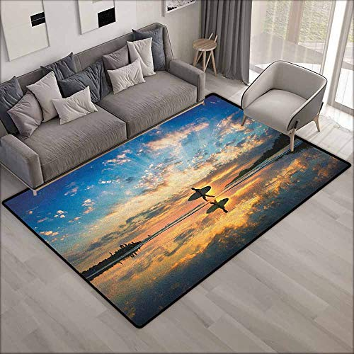 Outdoor Patio Rug,Ride The Wave Surfer Walking Before Horizon with Cloudy Sky Coastal Charm Image,Anti-Slip Doormat Footpad Machine Washable,3'3