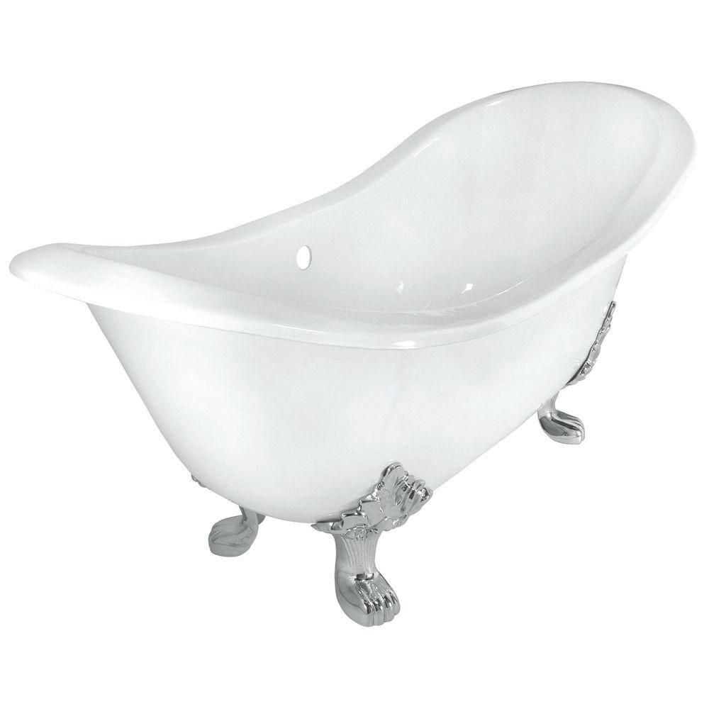 Elizabethan Classics Ecdslpb Cast Iron Double Slipper Tub With Less