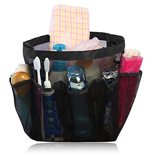 - Portable Mesh Shower Tote, Quick Dry Hanging Toiletry and Bath Organizer with 8 Storage Pockets,Portable Shower Tote Storage Organise Perfect Travel Bag Black