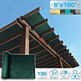 Patio Paradise 6' x 180' Sunblock Shade Cloth Roll,Dark Green Sun Shade Fabric 95%UV Resistant Mesh Netting Cover for Outdoor,Backyard,Garden,Plant,Greenhouse,Barn
