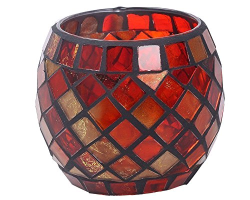 AWEVILIA Handmade Red Orange Mosaic Glass Bowl Candle Holders Votive Tealight Candleholders Home Decor Christmas Party (Red Mosaic Tealight Holder)