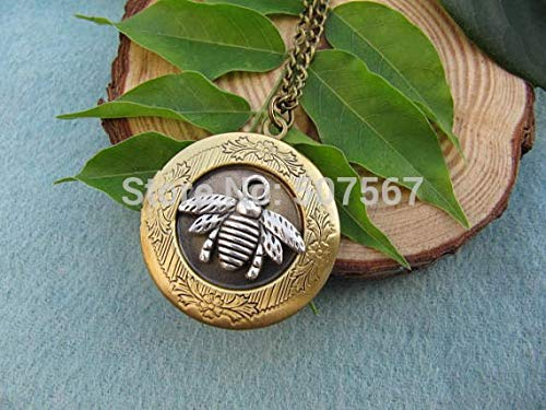 Vintage Style Bee Locket Necklace Rustic Finish Gothic Victorian Vintage Inspired Antiqued Silver Bee Jewelry
