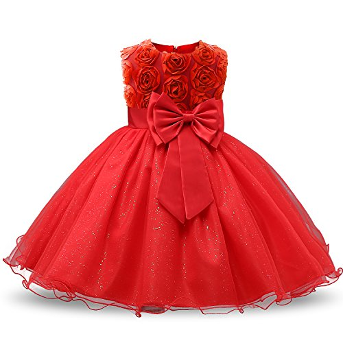 NNJXD Girl Sleeveless Lace 3D Flower Tutu Holiday Princess Dresses Size 6-7 Years Red -