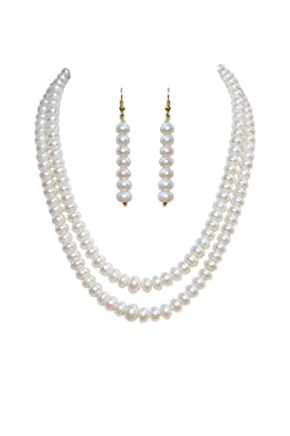 Classique Designer Silver Alloy With Gold Plated Button Pearl Necklace Set For Women(cp004) <span at amazon