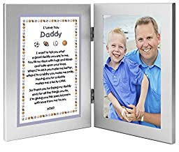 Sports Themed Gift From Son - Sweet Poem to Daddy From Boy - Add Photo to Double Frame