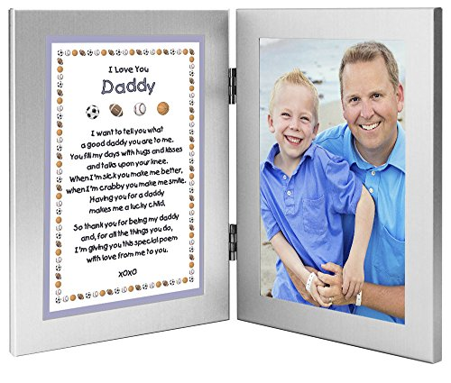 Dad From Son - Sports Themed Gift to Daddy From Boy - Add Photo to Double Frame