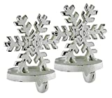 Snowflake White Cast Iron Christmas Stocking Holder Set of 2