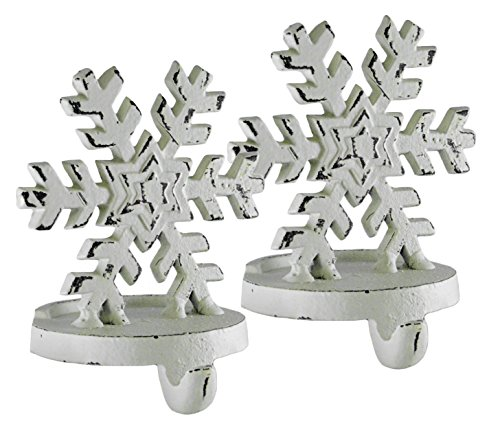 Snowflake White Cast Iron Christmas Stocking Holder Set of 2 by Creative Co-op
