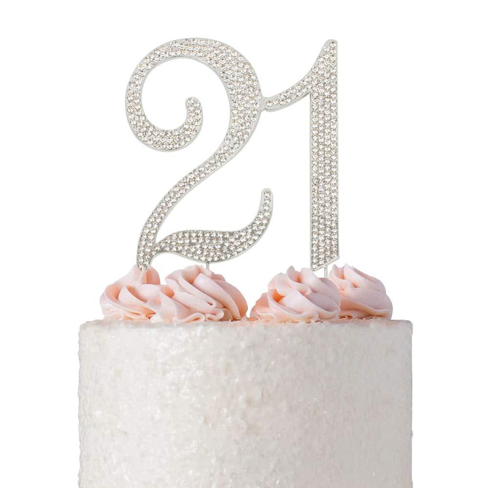 21 Rhinestone Cake Topper   Premium Bling Crystal Rhinestone Diamond Gems   21st Birthday Party Decoration Ideas   Quality Metal Alloy   Perfect Keepsake (21 Silver)