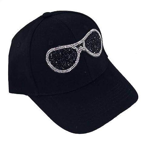 Shaoqingren Casual Mujer Gafas Rhinestones Gorra de béisbol ...