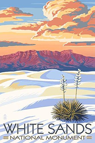 - White Sands National Monument, New Mexico - Sunset Scene (12x18 Art Print, Wall Decor Travel Poster)