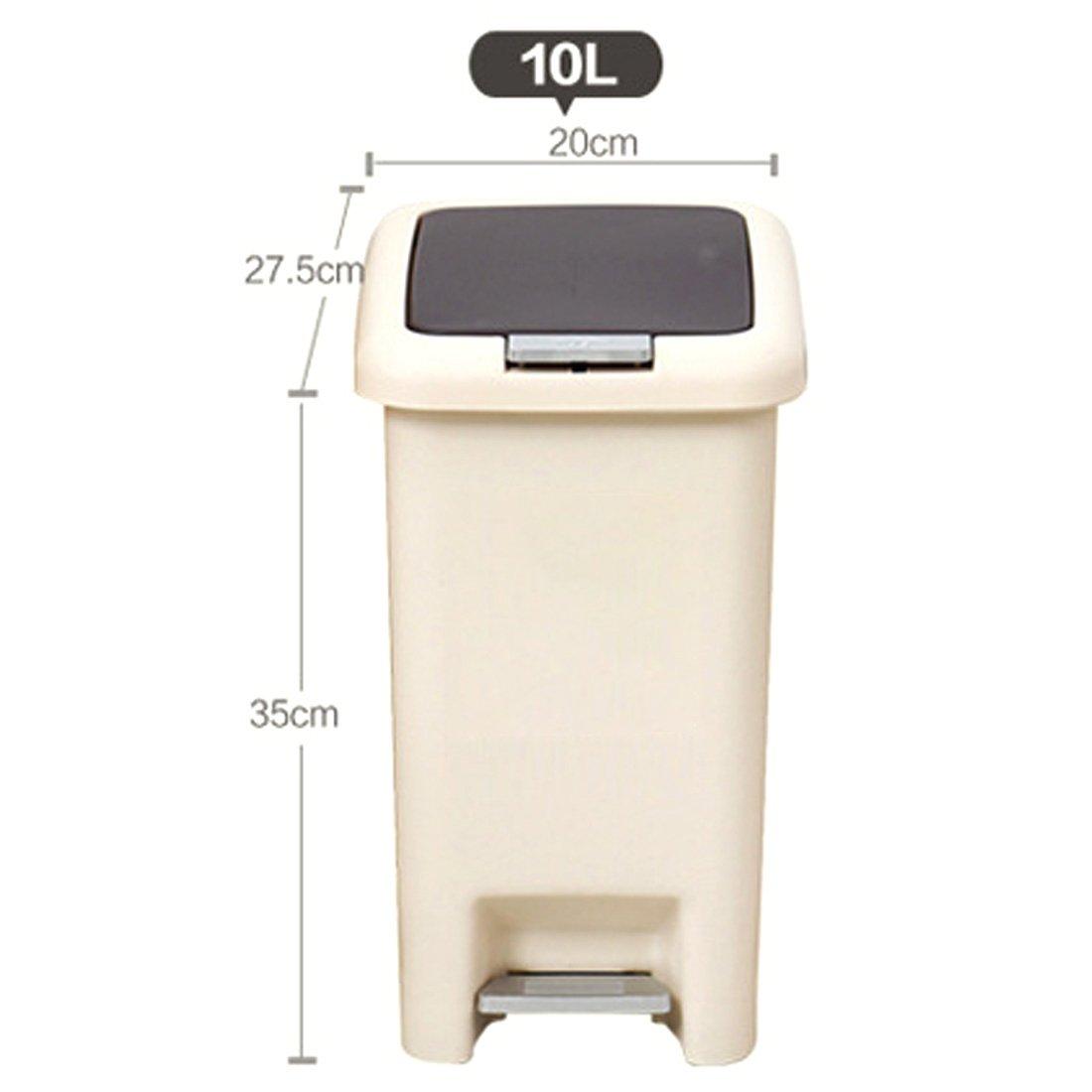 20*27.5*31CM Lommer 8 Liter Plastik Rechteckig Mülleimer Modern Einfach Papierkorb Abfalleimer mit Deckel und Pedal für Küche Büro Bad Wohnzimmer Schlafzimmer Kaffee