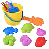 12 PCs Beach Sand Toys for Toddlers, Kids Beach Bucket Set with Sand Molds