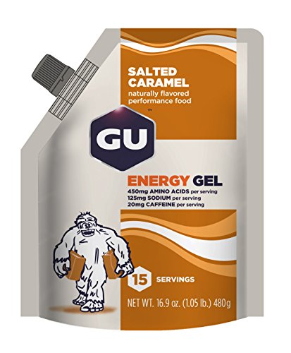 GU Original Sports Nutrition Energy Gel, Salted Caramel, 15 Serving Pouch