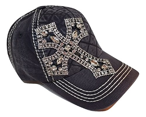 (Olive & Pique Women's Rhinestone Cross Quilted Bling Baseball Cap (Taupe))