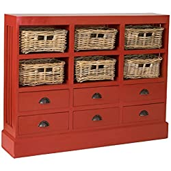 East At Main Oxford Mahogany Sideboard, Antique Red, (46x10x36)