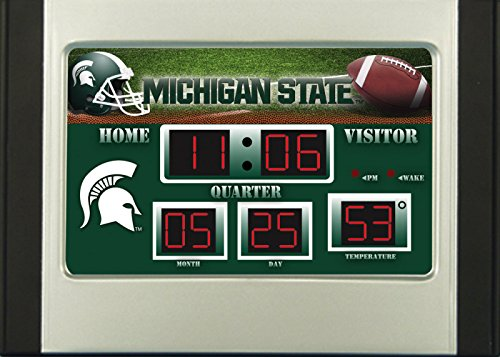 State Desk Michigan Clock - Evergreen NCAA Michigan State Spartans Desk and Alarm, Team Colors, One Size