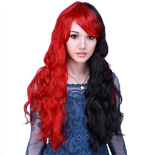 red and black split wig - 1