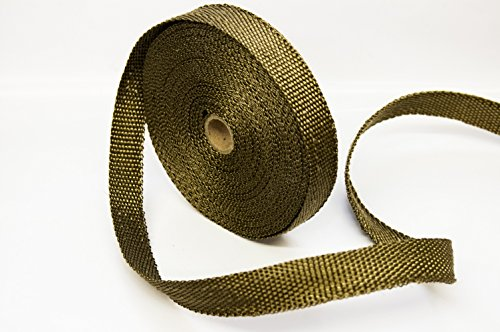(Titanium LAVA Exhaust heat header pipe wrap roll 1 INCH WIDE X 50 FEET LONG - Thermal Zero handles up to 3000° F - LV116150)