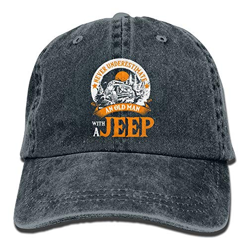 an Old Man A Jeep T Shirt Denim Caps Dad Baseball Hats Women&Men (Gray Jeep Hat)