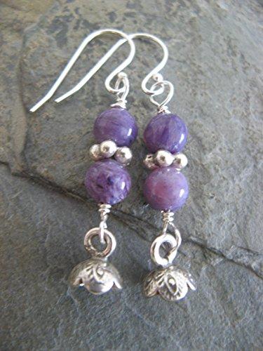Charoite Gem - Charoite Gemstone Sterling Silver Dangling Flower Earrings Purple Artisan Jewelry