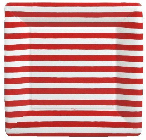 4th of July Party Ideas Party Supplies Paper Plates Dinner Size Red and White 16 Count 10 inch Square -