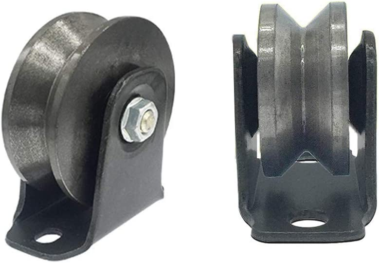 SHANGU 2 V-Groove Iron Caster Wheel,Heavy Duty Track Wheel,Directional Sheave,Sliding Gate Roller,Double Bearing,for Industrial Machines,Rolling Gates,Wire Rope Rails,Barn Door 3inch