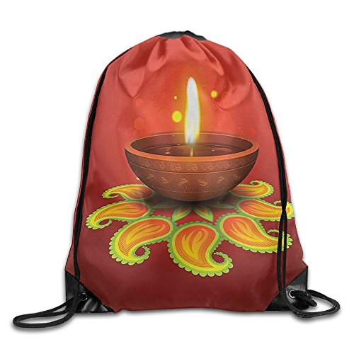 FYW Diwali Tribal Religious Art Celebration Candle Fire With Beams And Paisley Art Print Drawstring Bags Running Backpack Sport Bag For Men & Women by FYW