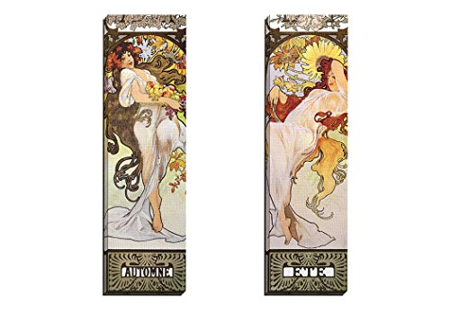 Portfolio Canvas Decor Framed and Stretched Ready to Hang Automne Canvas Wall Art by Alphonse Mucha (Set of 2), 12 x 36