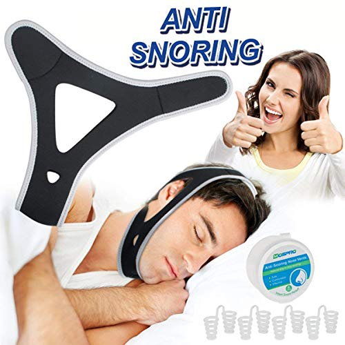 Anti Snoring Chin Strap, COMHOM Effective Snoring Solution and Anti Snoring Devices Kit, Stop Snoring Chin Strap & Nose Vents, Snore Stopper Stop Snoring Sleep Aid for Men and Women [Upgraded Version]