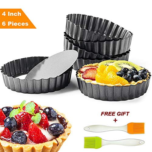 (Tart Pie Pan 4 Inch with Removable Loose Bottom Mini Quiche Pizza Cake Pans Non-Stick Round Fluted Flan 6 PCS and Silicone Brush)