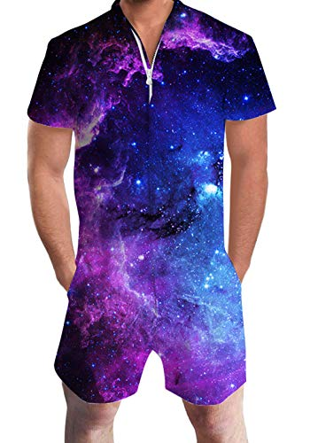 UNIFACO Male Galaxy Universe Space Stars Print Zip Up Jumpsuit Short Pants Rompers Slim Fit Party Mens Romper Bro Shorts One Piece Medium