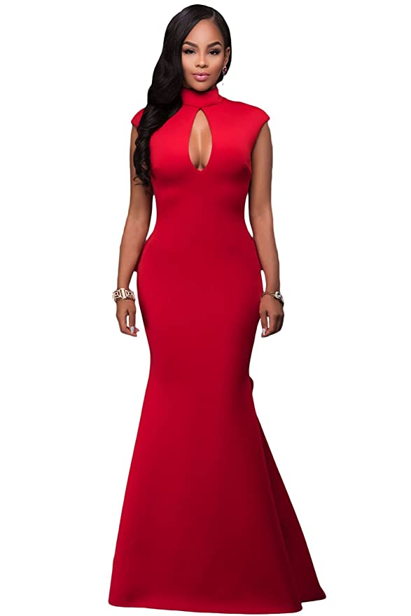 Amazon.com: Black Memory Women\'s Halter Solid Sleeveless Long Gown ...