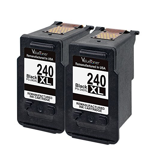 Valuetoner Remanufactured Ink Cartridge Replacement for Canon PG-240XL 240 XL to use with Pixma MG3620 MX532 MG2120 MG2220 MG3120 MG3122 MG3220 MG3222 MX432 MG3520 MX452 MX512 High Yield (2 Black) (Mx439 Ink)