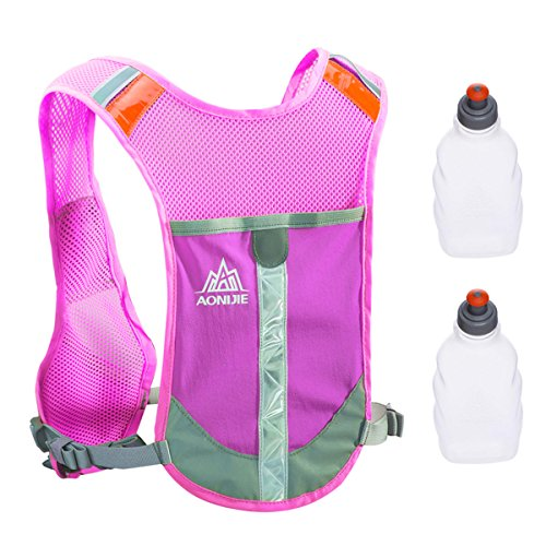 TRIWONDER Reflective Running Vest Hydration Vest Hydration Pack Backpack for Marathoner Running Race Cycling (Rose Red - with 2 Water Bottles)
