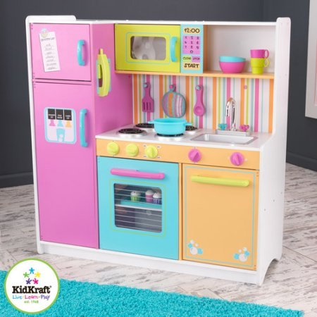 KidKraft Deluxe Big & Bright Wooden Play Kitchen with 3 Piece Accessories - Kidkraft Deluxe Kitchen