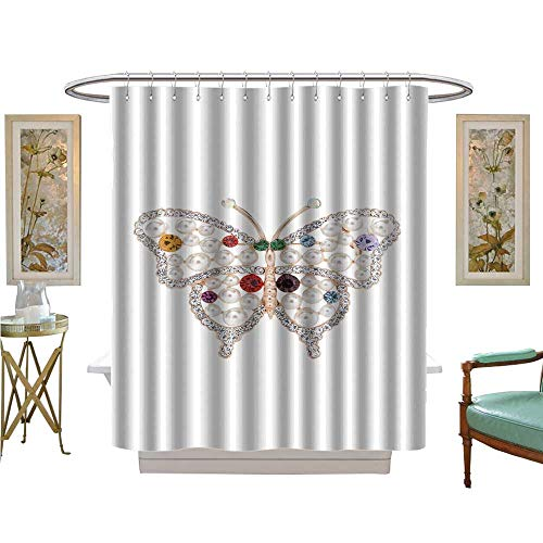 luvoluxhome Shower Curtains Fabric Brooch in The Shape Butterfly on a White Background Custom Made Shower Curtain W48 x L72