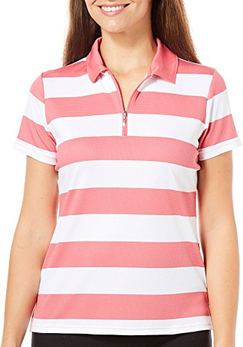 IZOD Golf Womens Striped Polo Shirt Large Rose Pink/White