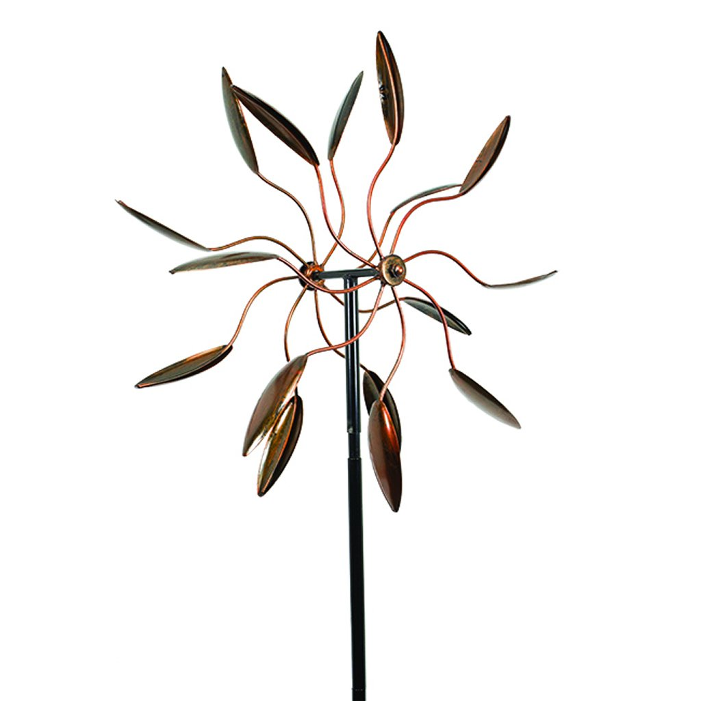 Decorative Leaf Wind Spinner Kinetic Art Garden Stake, Outdoor Dual Motion Double Spiral Metal Lawn Ornament, Copper Colored Powder Coated Yard Sculpture