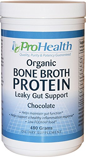 ProHealth Organic Bone Broth Protein - Leaky Gut Support Formula (480 Grams - Natural Chocolate Flavor)