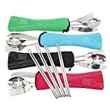 knife and spoon holder - KEKLLE Set of 4 / 4 Piece Stainless Steel(Knife, Fork, Spoon, Chopsticks)Lightweight Portable Tableware,Camping/Travel/Office Lunch Cutlery Set with Carrying Cases