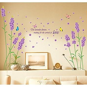 Amazon.com: Purple Lavenders Flower Butterflies English Letters Wall ...