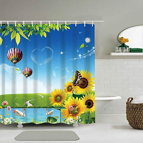 - Abili Shower Curtain Sunflower and Hot Air Balloon Colorful Succulent Design Natural in Modern Funky Style Bathroom Accessories Waterproof  Polyester Fabric with 12 Curtain Hooks 72-Inch by 72-Inch