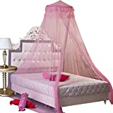 Didihou Mosquito Net Bed Canopy Universal Princess Dome Round Netting with Lace for Kids Bed Indoor Outdoor Playing Reading Tent, 59 by 79-Inch (Dome, Pink)